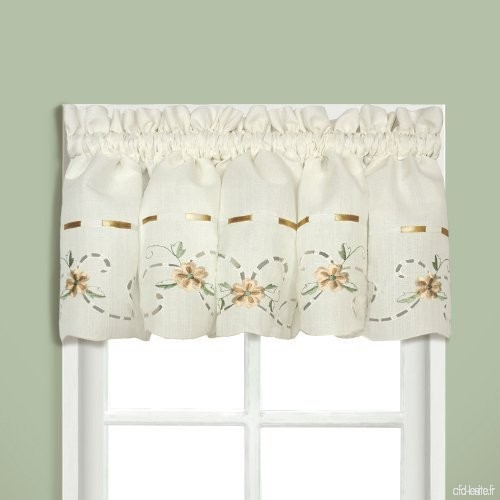 United Curtain Rachael Embroidered Straight Valance  60 by 12-Inch  Taupe by United Curtain - B017N2LMS6