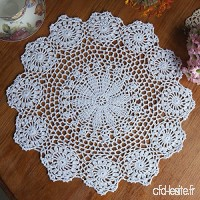 KING DO WAY Napperon Dentelle Crochet Rond En Coton Décor Table Cuisine Hand Crocheted Doily Fleur Blanc 37cm - B01M0EKTTJ