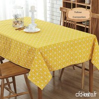 DOTBUY Nappe Rectangulaire  Nappe de Table carrée/rectangulaire en Coton Nappe Anti-salissure  Lavable et Facile d'Entretien Couleur & 10 Tailles au Choix  Coton et Lin 90 * 90cm  Connexion Jaune - B07KF361W5