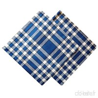 Linandelle Lot de 2 Serviettes de Table Carreaux Normands Bleues 50x50cm - B077XZ63CM