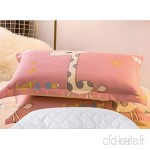 KLGG Cotton Pillowcase and Pillow Set Double Student Cotton Pillow Protection Cervical Pillow Grey Pink Deer - B07VQNMBDV