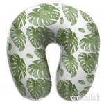 Travel Pillow Tropical Palm Elephant Leaf in Greens Botanical Memory Foam U Neck Pillow for Lightweight Support in Airplane Car Train Bus - B07V2R9VFS